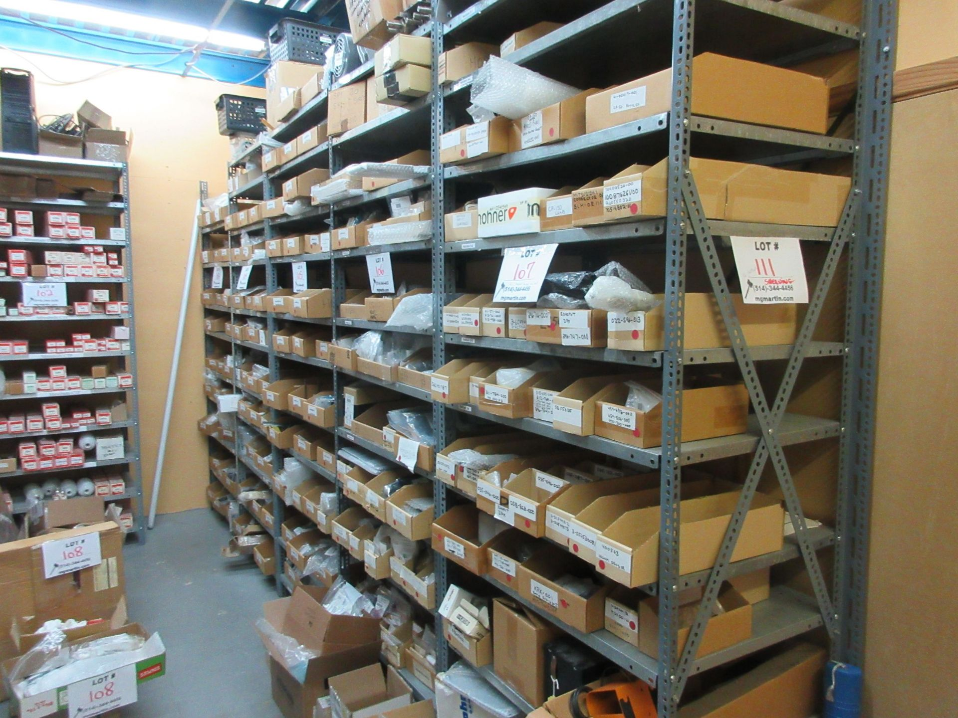 """Sections of metal shelving (37""""w x 2ft d x 99"""" h) (qty 16)"""