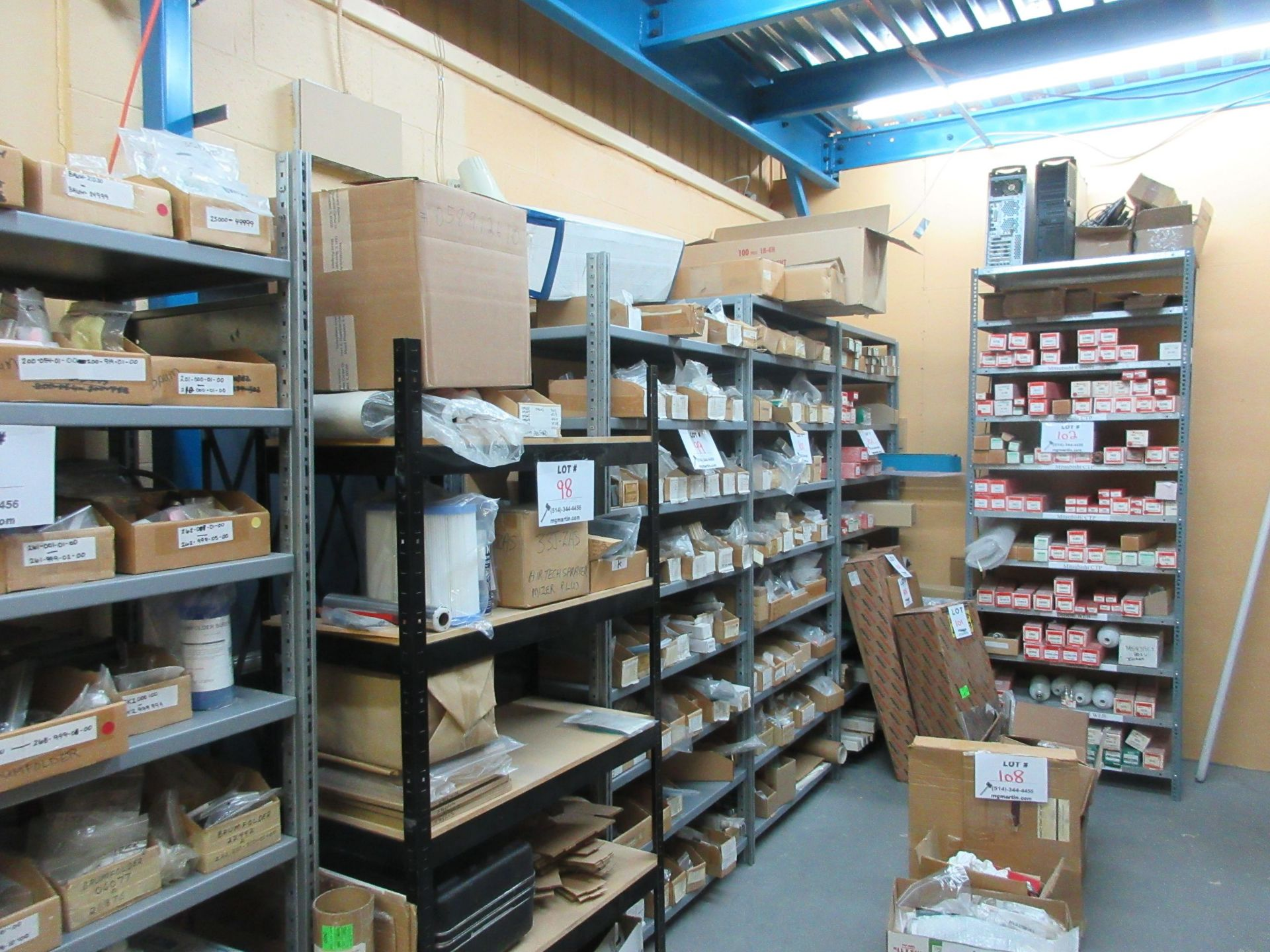 """Sections of metal shelving (37""""w x 2ft d x 99"""" h) (qty 16) - Image 2 of 3"""