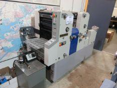 RYOBI color offset press (mod: 3302H) c/w RYOBI chiller, AIRTEK spray & infrared dryer