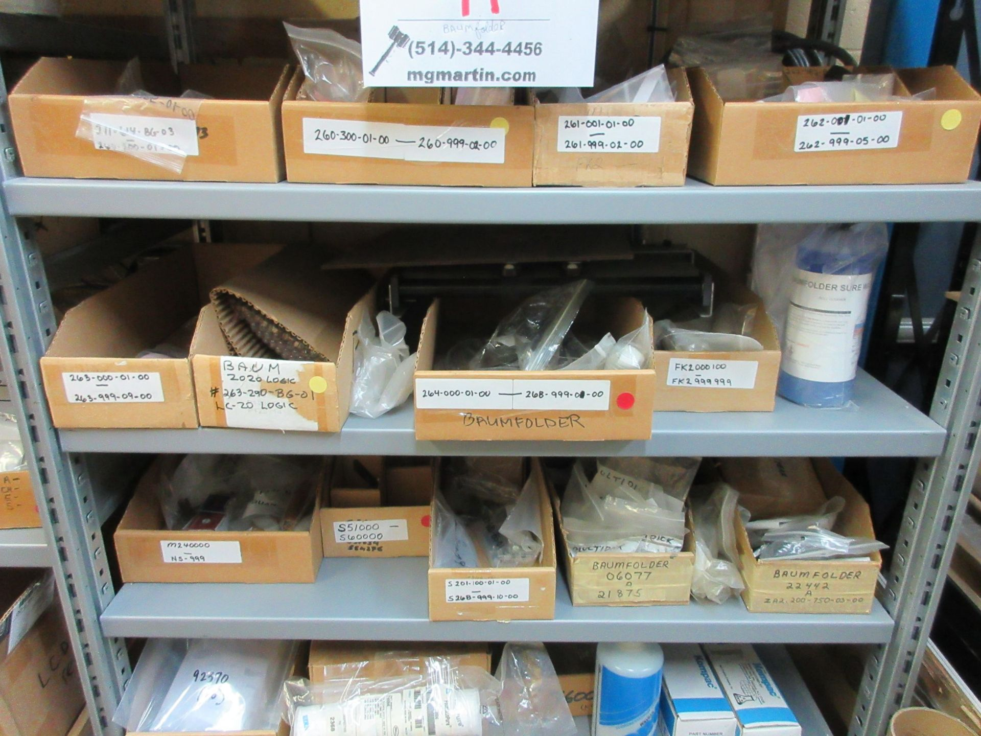 Lot 97 - LOT Including boxes of assorted consumable spare parts for BAUMFOLDER (belts, feed rollers, sheet