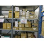 LOT Including assorted parts, ink, strips, toner, binding tape, etc. (approx. qty 46 boxes)