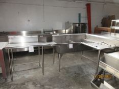 """LOT Including (2) section commercial sink w/ faucet (approx. 112""""w x 59""""d x 42""""h)"""