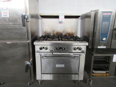 "US RANGE (6) burner gas range w/ standard oven (approx. 36""w x 35""d x 58""h)"