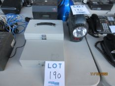 LOT Including (2) cash boxes, (1) PYRAMID electronic time clock & document stamp (mod: 3700) & MVP