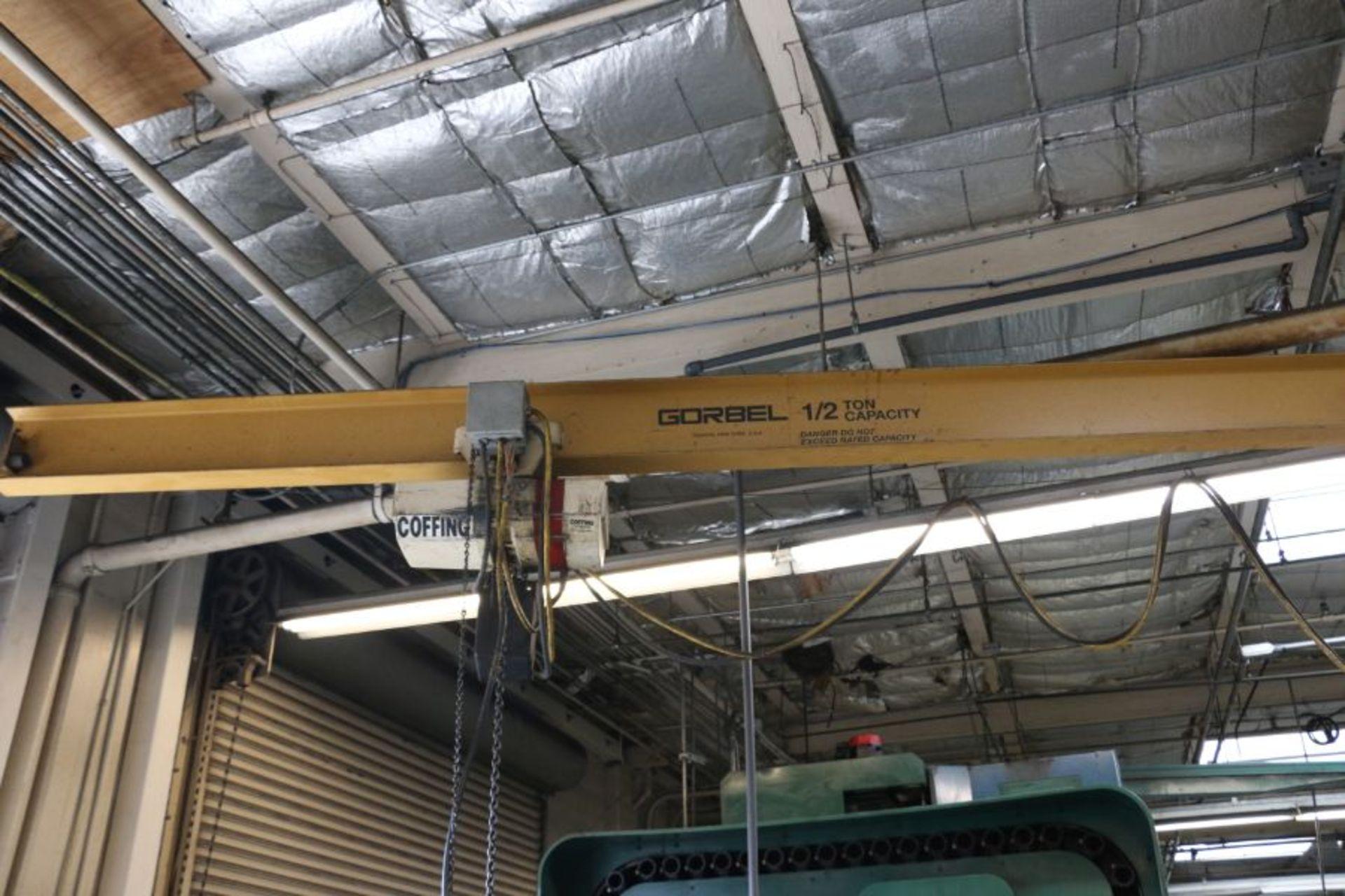 Lot 100 - Gorbel 1/2 Ton Jib Crane with 1/2 Ton Coffing Hoist