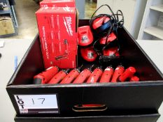 """(7) Milwaukee M4 1/4"""" Hex 2-Speed Screwdrivers and (7) chargers"""