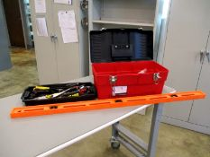Stack-On Tool Box with tools and 4' leveler