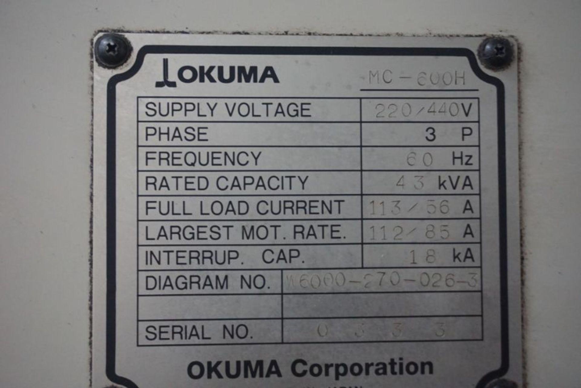 "Okuma 600H 4-Axis HMC, OSP 7000M Control, 39.45"" x 31.57"" x 29.64"" Travels, 360 Deg. B, (2) Pallets, - Image 8 of 8"