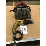 """DeWalt DW505, Electric 1/2"""" Hammer Drill with Milwaukee 7 1/2"""" Circular Saw"""