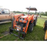AGCO ST45 4WD COMPACT TRACTOR W/AGCO SL48 FEL, PALLET FORK ATTACH,(NO BUCKET), 3 PT, HYD, ROPS,