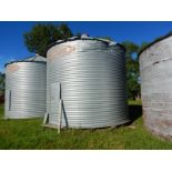 BUTLER 3050 BU +- CORRIGATED STEEL GRAIN BIN W/WOOD FLOOR, DAMAGE TO ROOF EDGE, LOCATED @39427 RNG