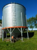 CARADON 4200 BU +- HOPPER BOTTOM GRAIN BIN ON STEEL SKID W/ FLAMAN 3 HP AERATION UNIT.LOCATED @39427
