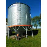 CARADON 4200 BU +- HOPPER BOTTOM GRAIN BIN ON STEEL SKID W/ FLAMAN 3 HP AERATION UNIT.LOCATED @39427