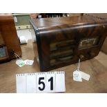 VINTAGE 1940'S MARCONI WOOD CABINET TABLE TOP RADIO, MODEL 145; SERIAL # 145-720115