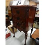 VINTAGE STEWART WARNER CHIPPENDALE COMMODE FLOOR MODEL 9001-DRADIO WITH OPEN FACE DOORWOOD BALL
