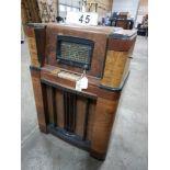 VINTAGE 1940'S DEFOREST- SHORTWAVE-STANDARD BROADCAST,CONSOLE FLOOR MODEL RADIOWOOD CABINET ,