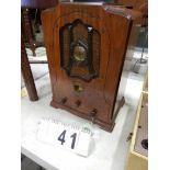 VINTAGE 1930'S VICTOR MANTEL RADIO W/ GE CLOCK MODEL 22X, BURAL FRONT