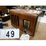 VINTAGE VIKING 1930'S WOOD CABINET TABLE TOP RADIO, MODEL 851-E; SERIAL # 173121, MADE BYDOMINION