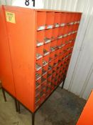 72 COMPARTMENT STEEL BOLT BIN W/ GRADE 8 HARDWARE W/BASE