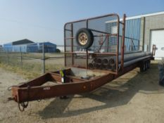 1993 ROD'S WELDING 40 FT, 3-8000 LB AXLES, TRANSPORT TRAILER W/FRONT HOSE BASKET & REAR CLAMP