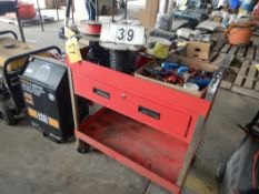 PORTABLE SHOP CART W/WIRING SUPPLIES, TOOLS & ASSORTED RELATED ITEMS