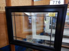"APPROX 39 X 51"" BLACK VINYL WINDOW ASSEMBLY W/ SHOW ROOM MERCHANDISER"