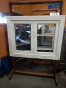 "APPROX 36 X 47"" WHITE VINYL WINDOW ASSEMBLY W/ SHOW ROOM MERCHANDISER"