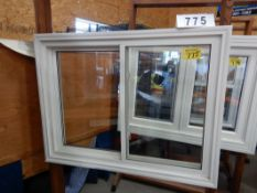 "APPROX 39 X 51"" WHITE VINYL WINDOW ASSEMBLY W/ SHOW ROOM MERCHANDISER"