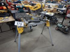 "DEWALT DWS 779 12"" DBL BEVEL SLIDING COMPOUND MITER SAW W/ FOLDING TOOL STAND, S/N 27140"