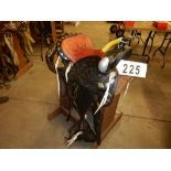 "VINTAGE 15"" SPOTTED PARADE SADDLE, 12"" FORK, FULL DBL RIG W/ MATCHING BRIDLE & BIT, BREAST COLLAR, &"