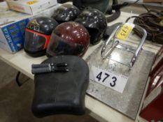4-MOTORCYCLE CRASH HELMETS, MOTORCYCLE CHECKER WHEEL TIE DOWN PLATE, HARLEY MOTORCYCLE SEAT& FOOT
