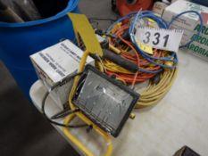 L/O POWER CORDS, TROUBLE LIGHT, HALOGEN WORK LIGHTS, ETC