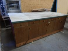 """48"""" X 96"""" STORAGE CABINET/WORK TABLE COMBINATION W/ CUTTING BOARD TOP"""