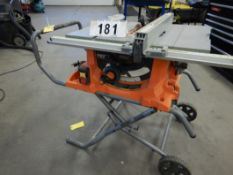"RIDGID R4513 PRO1O"" JOBSITE TABLE SAW W/RIDGID TS-UV TABLE SAW, UTILITY STAND, ETC"