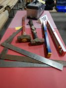 2-SHORT HANDLED STEEL MALLETS, CARPENTER SQUARES, CARPENTER LEVELS, TOOL BOX, & ROLLER STAND