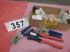 SET OF BOW 563734 PEX CRIMPING TOOL, 2-TYU SPEC HX596 HEX CRIMPER, ASSORTED BOWPEX CRIMP RINGS,