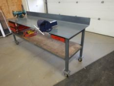 "36""X96"" STEEL WORK BENCH W/CASTORS, BACKSPLASH, ERON HD 6"" VICE, W/WISSOTA 6"" BENCH GRINDER, AIR"