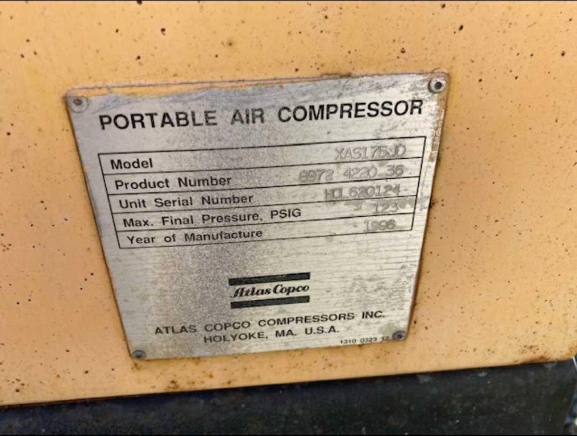 Atlas Copco XAS175 Air Compressor - Image 5 of 11