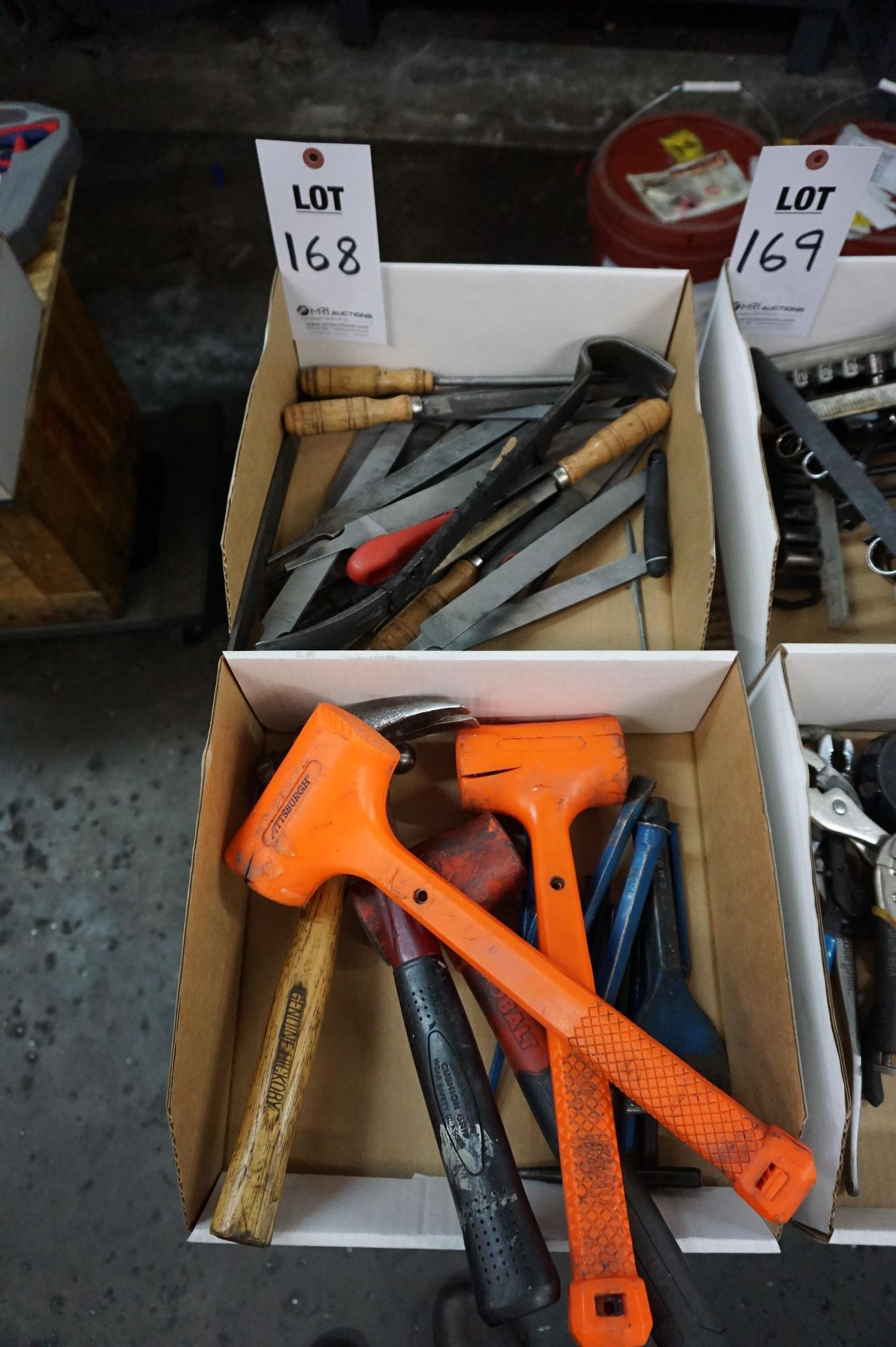 (2 BOXES) LOT TO INCLUDE: MISC. FILES, HAMMERS, CHISELS, AND PRY BAR - Image 2 of 2