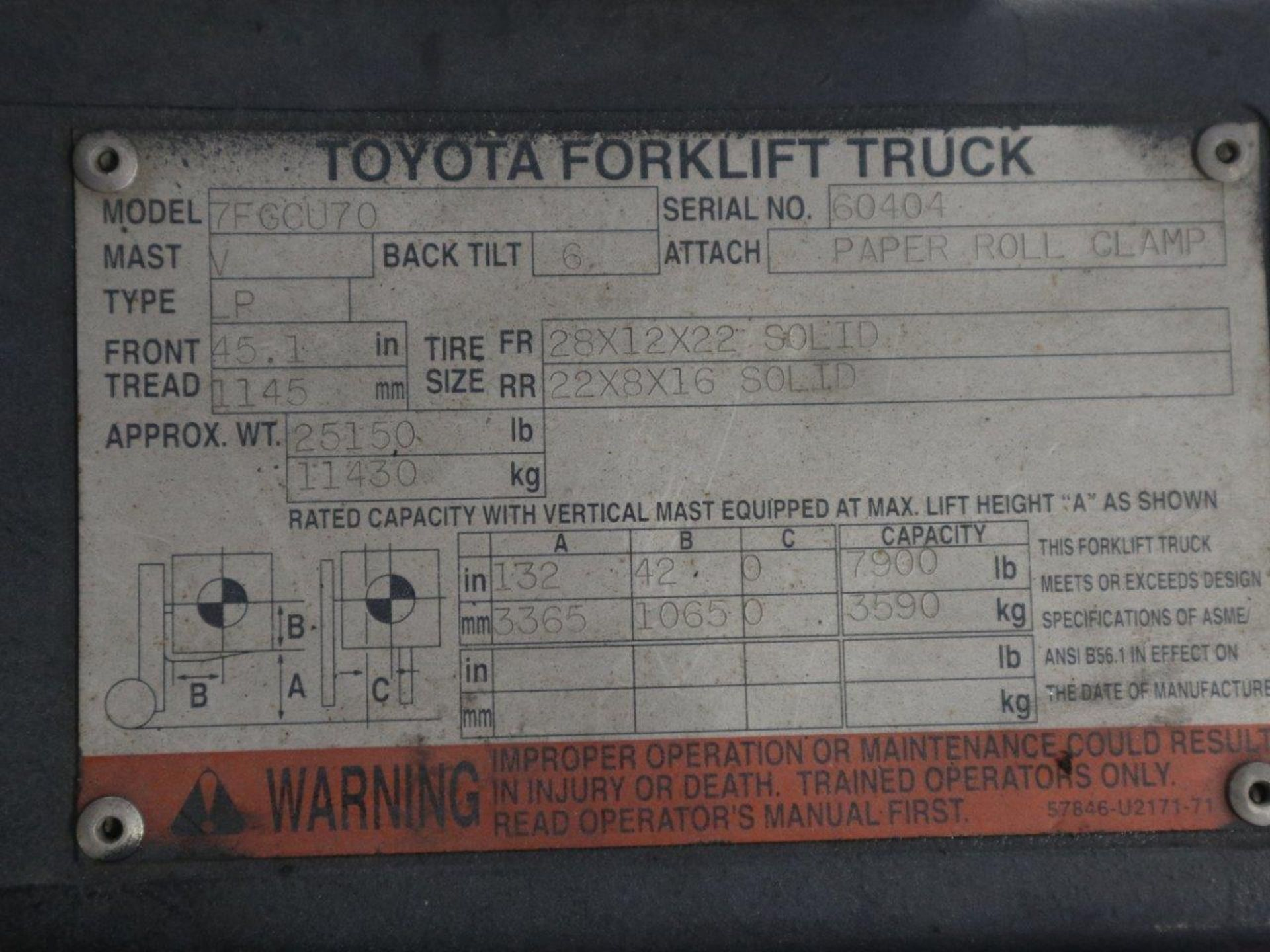 TOYOTA FORKLIFT 15,500 LBS LIFT CAPACITY 7FGCU70 - Image 7 of 8