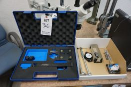 LOT TO INCLUDE: FOWLER BORE GAGE SETTING KIT *MISSING GAGE BLOCKS*, MISC BORE GAGES, X-ACTO KNIVES