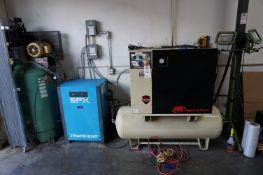 AIR COMPRESSOR AND DRYER LOT OT INCLUDE: (1) INGERSOLL RAND 80 GALLON AIR COMPRESSOR, MODEL UP6-10-