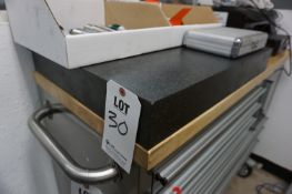 """LOT TO INCLUDE: (1) GRANITE PLATE 24"""" X 18"""" (1) GRANITE TABLE 18"""" X 12"""", CHIPPED"""