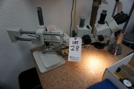 MICROSCOPE WITH AMSCOPE HL-250-A HALOID LAMP COLD-LIGHT SOURCE