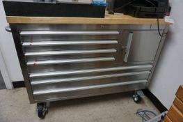 TOOL ORGANIZER LOT TO INCLUDE: (1) 7 DRAWER ROLLING STAINLESS STEEL SHOP CART WITH WOOD TOP, (1)