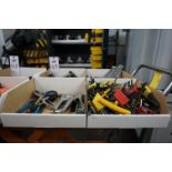 (4 BOXES) LOT TO INCLUDE: MISC. WRENCHES, CRESCENT WRENCHES, ALAN WRENCHES, PLIERS, LEVELS, TORQUE