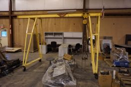 GANTRY CRANE WITH BUDGIT 1 TON HOIST, WITH RIGGING ATTACHMENTS, CHAINS, AND STRAPS