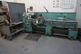 VICTOR 2080 ENGINE LATHE, S/N 710344, 10 HP, 220 V, CYCLES 60, 3 PHASE, CART WITH MANUALS, CHUCKS,