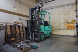 MITSUBISHI FGC25 LIFT TRUCK, S/N AF82A-53181, WEIGHT 8630 LBS, CAPACITY 4700 LBS, GAS POWERED