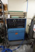 MILLER SYNCROWAVE 300 WELDER WITH ROLLING CART AND WELDING RODS